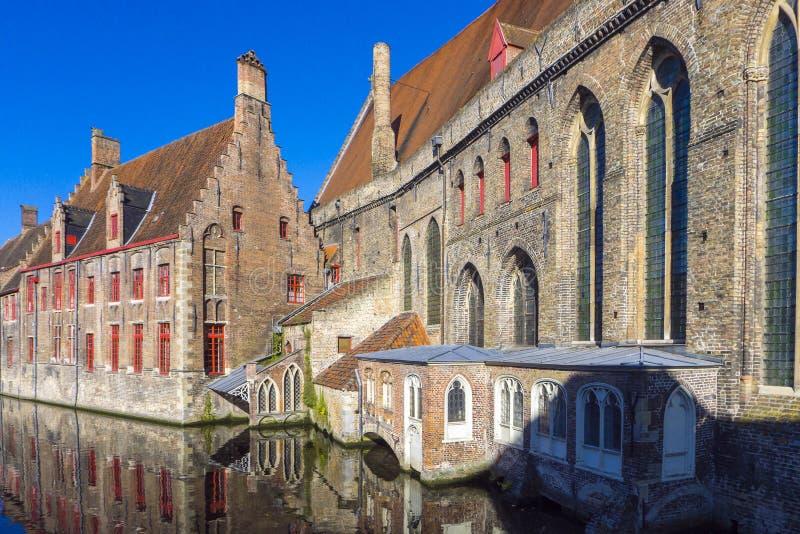 Sint-Janshospita St. John`s Hospital Bruges Belgium. Belgium, West Flanders Vlaanderen, Bruges Brugge. Historic Sint-Janshospitaal St. John`s Hospital on the stock photo