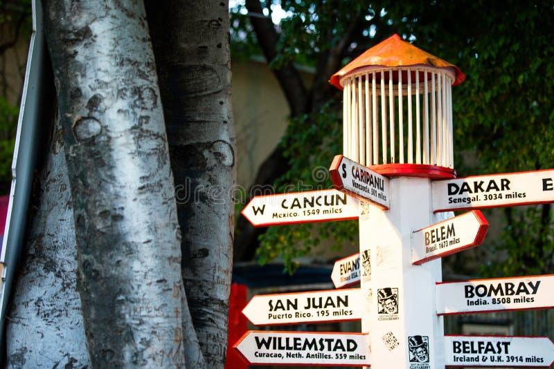 Sint Maarten Direction Post foto de archivo