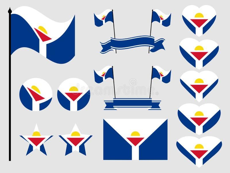 Sint Maarten flaggauppsättning Samling av symboler, flagga i hjärta vektor royaltyfri illustrationer