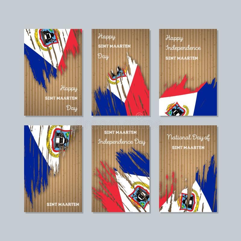 Sint Maarten Patriotic Cards per la festa nazionale illustrazione vettoriale