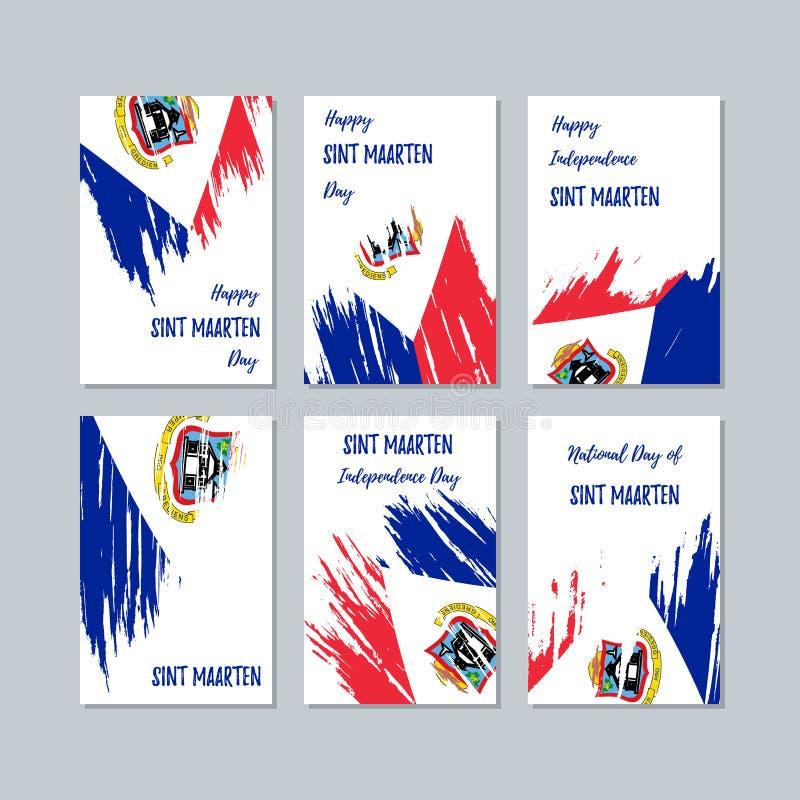 Sint Maarten Patriotic Cards per la festa nazionale illustrazione di stock
