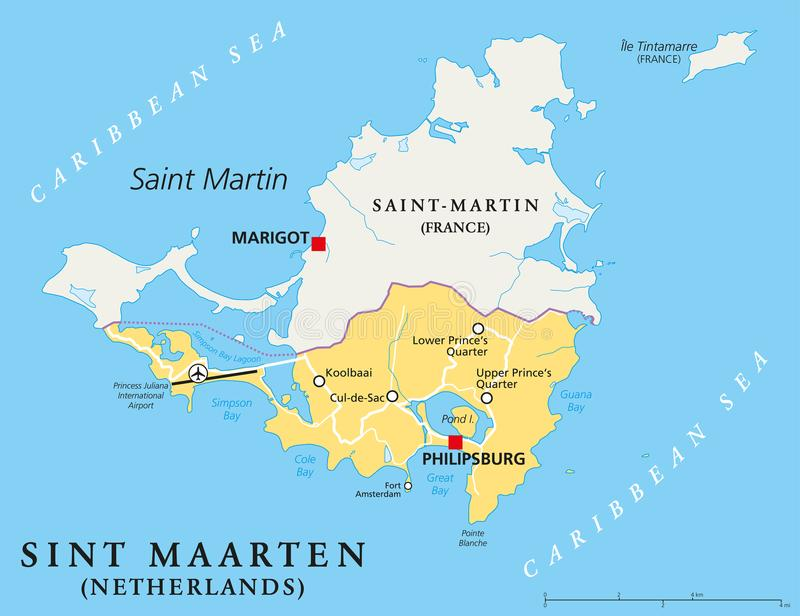 Sint Maarten Political Map. The southern part of the caribbean island Saint Martin. A constituent country of the Kingdom of the Netherlands with capital vector illustration