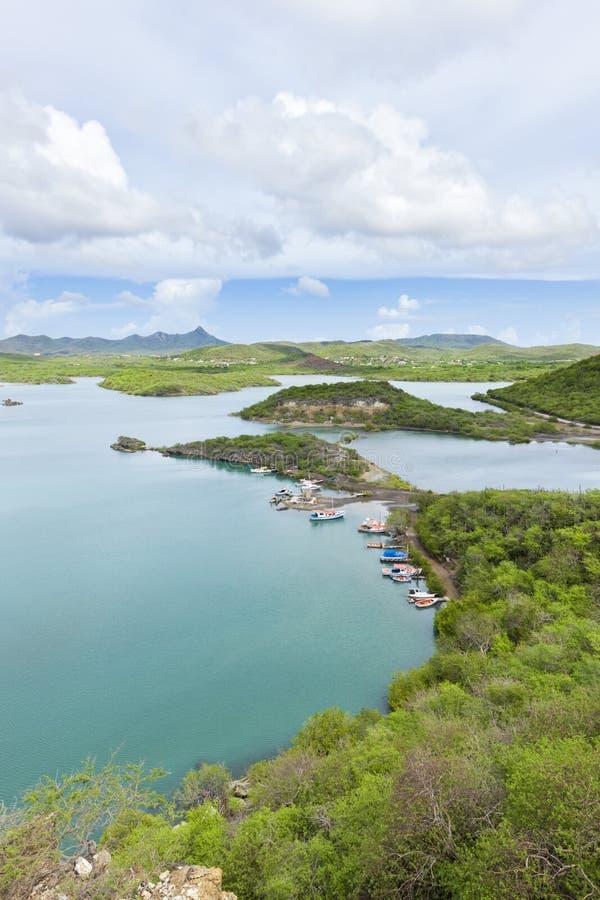 Sint Martha Baai, Curacao arkivbild