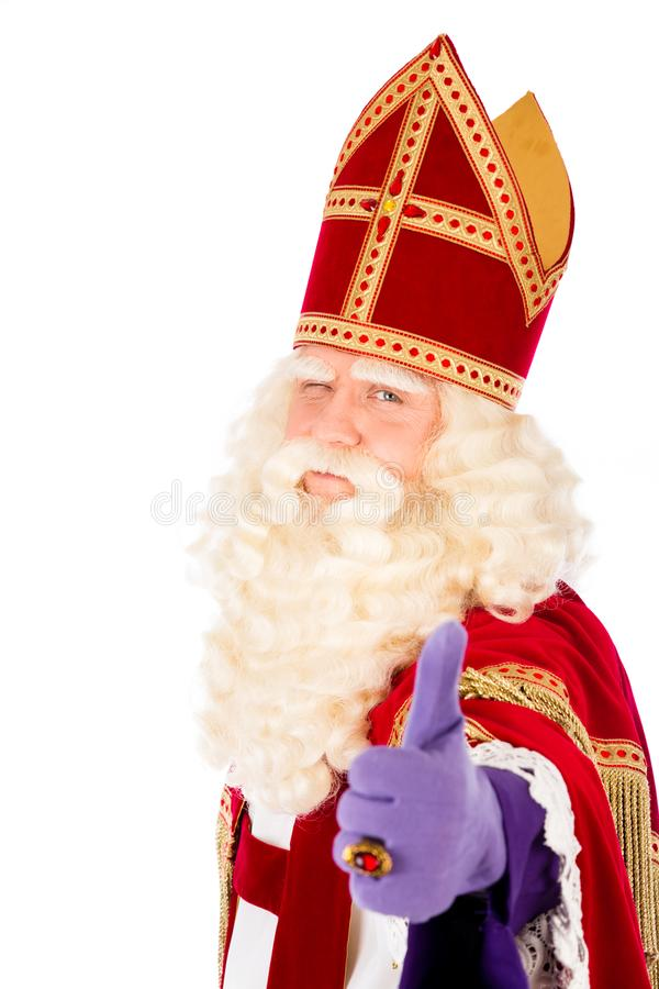 Sint Nicolaas auf weißem Hintergrund stockfotografie