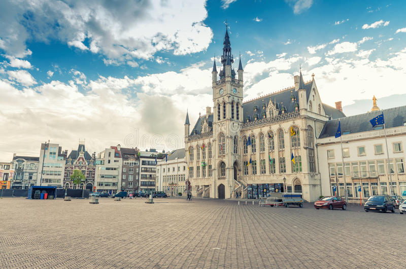 SINT NIKLAAS, BELGIUM, MAY 3, 2013: Town Hall of Sint-Niklaas an. D city square. Sint-Niklaas is the capital and major city of the Waasland region stock photo