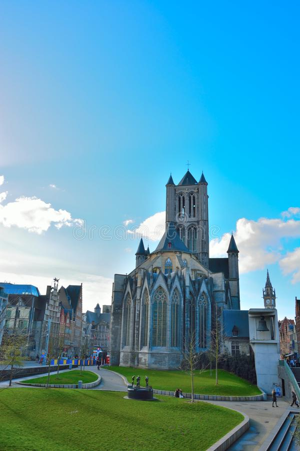 Sint-Niklaas church in Gent. GHENT, BELGIUM, MARCH 2016: famous landmark,Monumental Sint-Niklaas church, backside in Gent stock photos