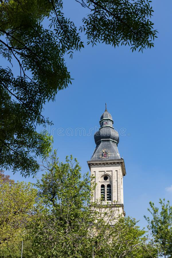 Ghent, Belgium - April 26, 2020: Hind tower the Our Lady of Saint Peter Church stock photos