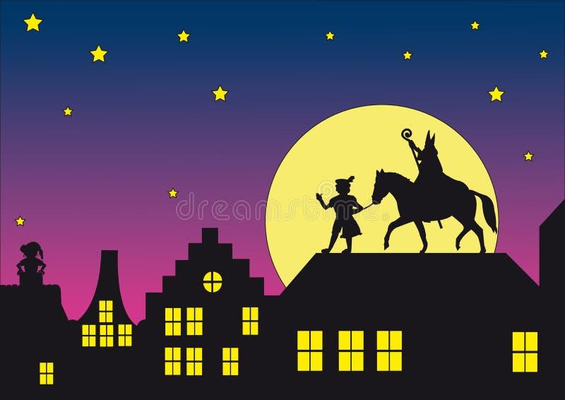 Sinterklaas au toit illustration de vecteur
