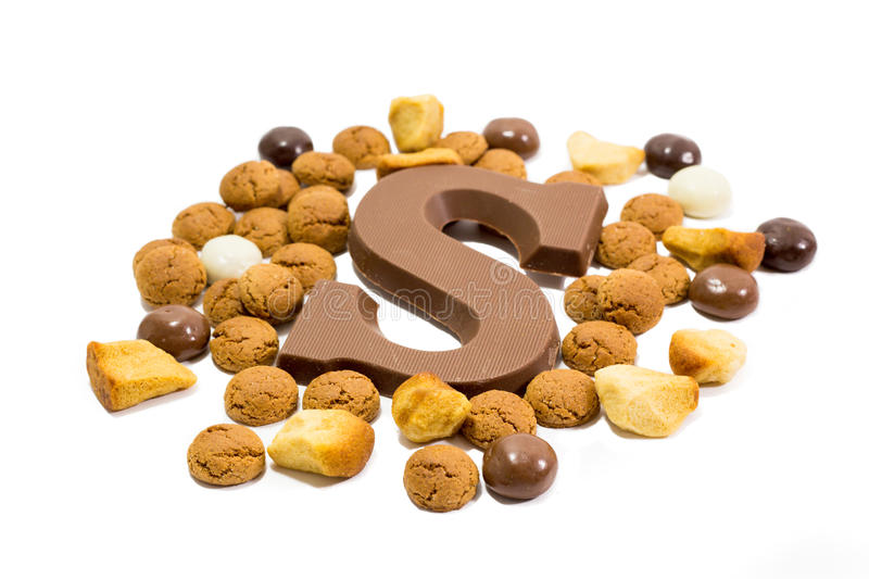 Sinterklaas candy and chocolate letter stock photos