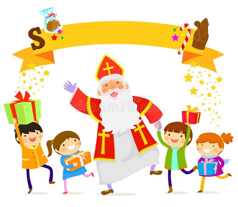 Sinterklaas e bambini illustrazione vettoriale