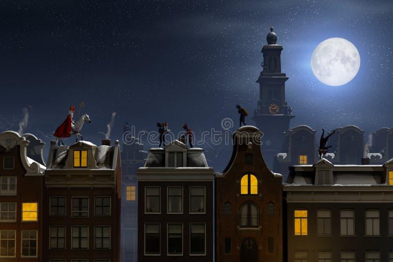 Sinterklaas e il Pieten sui tetti alla notte illustrazione di stock