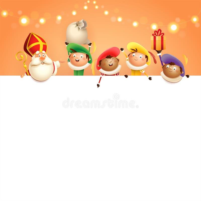Sinterklaas en helpers aan boord - de gelukkige leuke karakters vieren Nederlandse vakantie - vectorillustratie op oranje wi als  royalty-vrije illustratie
