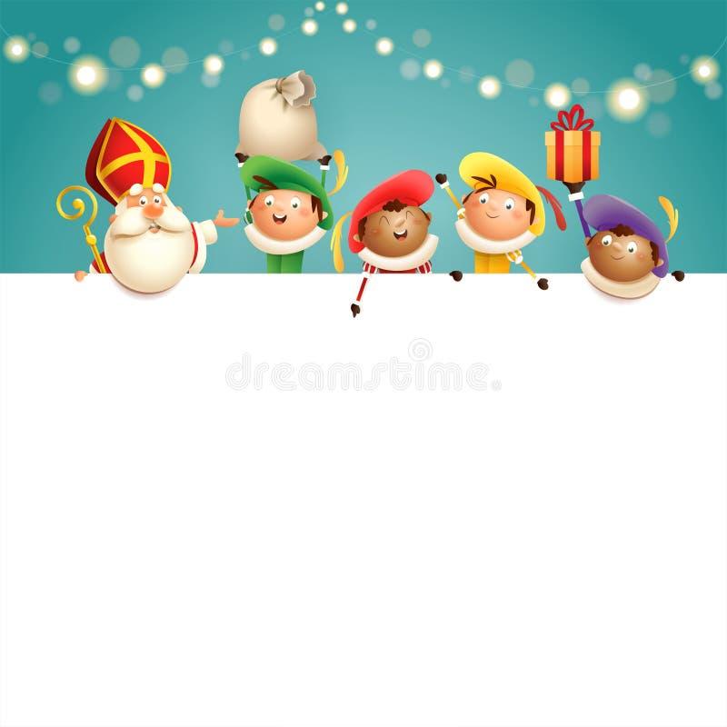 Sinterklaas en helpers Zwarte Piets aan boord - de gelukkige leuke karakters vieren Nederlandse vakantie - vectorillustratie op t vector illustratie