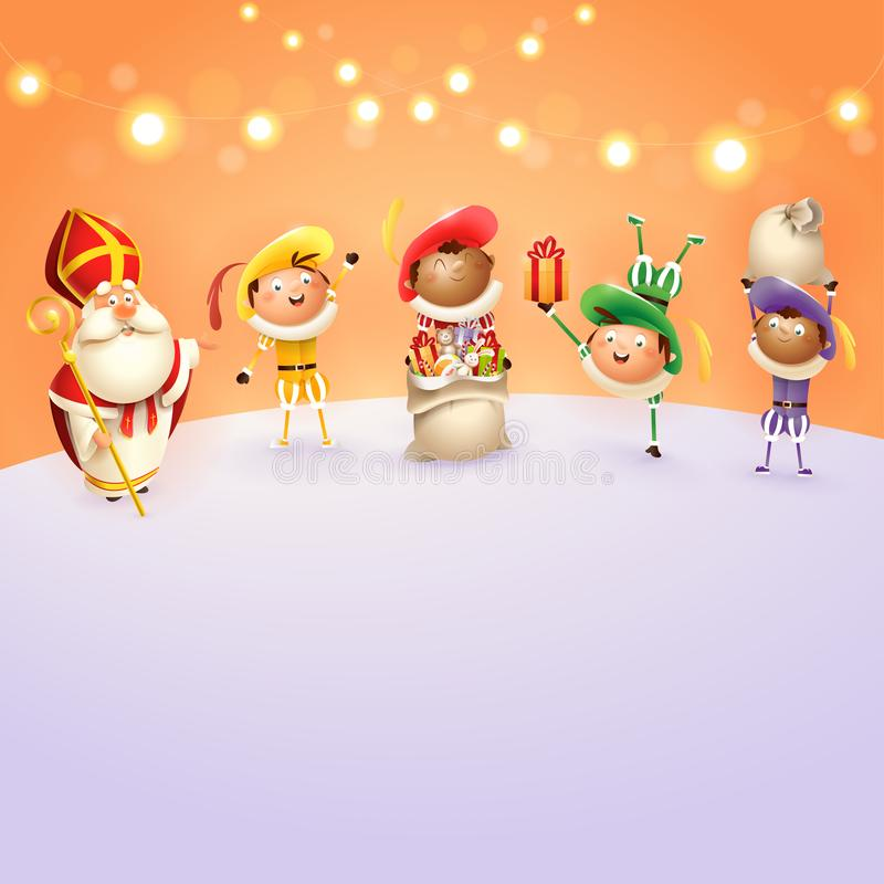 Sinterklaas en Zwarte Piets vieren Nederlandse vakantie - oranje achtergrond met lichten - vectorillustratie royalty-vrije illustratie