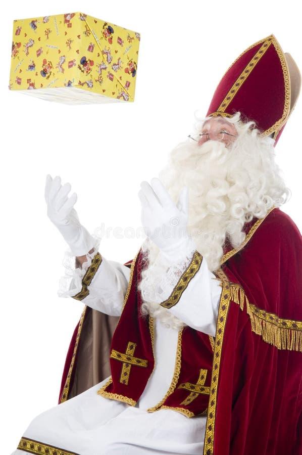 Sinterklaas et présent photographie stock libre de droits