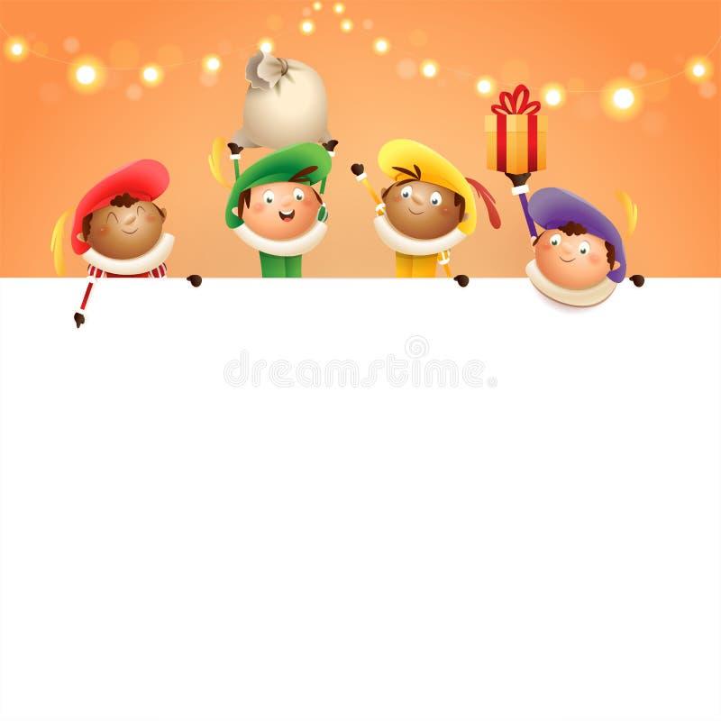 Sinterklaas-helpers aan boord - de gelukkige leuke karakters vieren Nederlandse vakantie - vectorillustratie op oranje achtergron vector illustratie