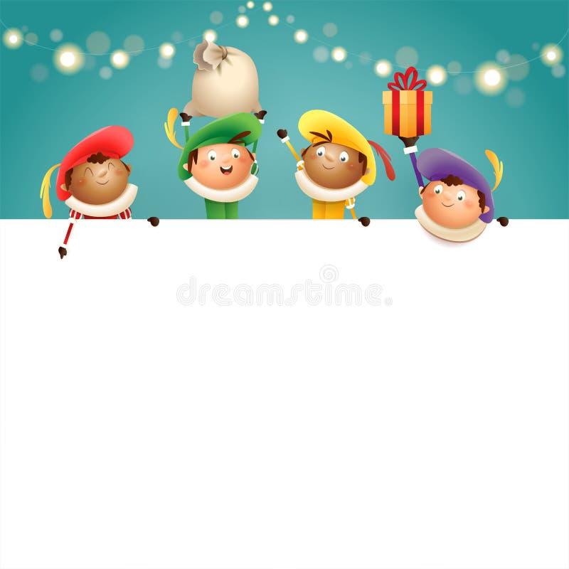 Sinterklaas-helpers Zwarte Piets aan boord - de gelukkige leuke karakters vieren Nederlandse vakantie - vectorillustratie op turk stock illustratie