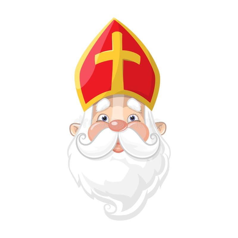 Sinterklaas - het leuke portret van het beeldverhaalkarakter royalty-vrije illustratie