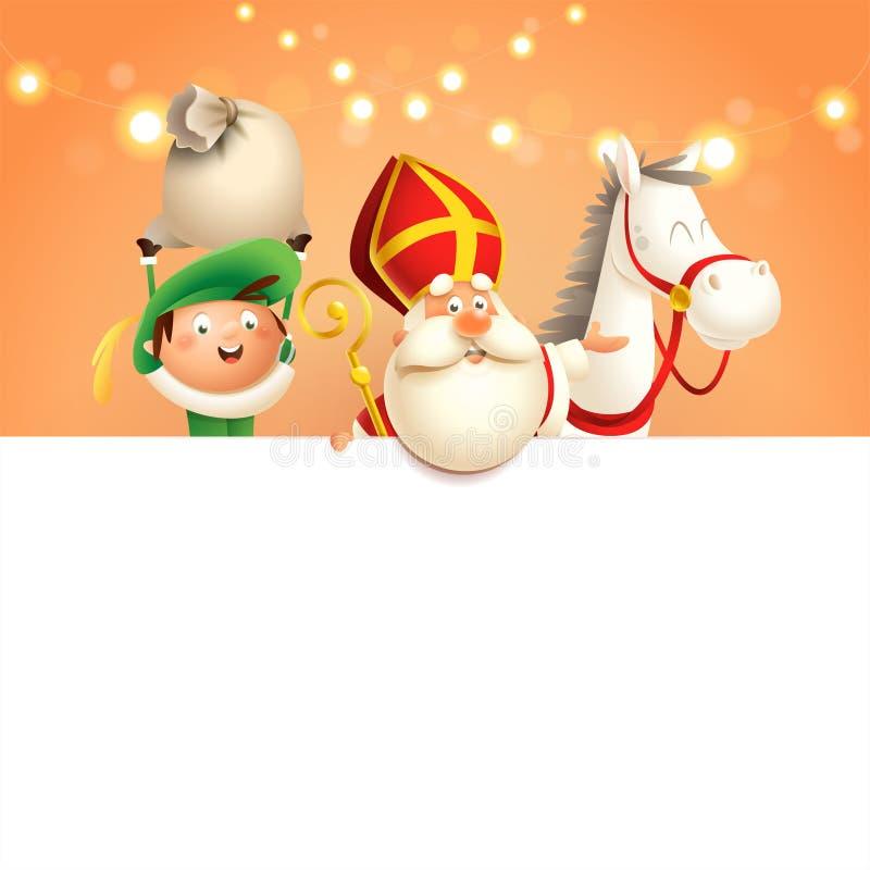 Sinterklaas of het paard en de helper van Sinterklaas aan boord - de gelukkige leuke karakters vieren Nederlandse vakantie - vect vector illustratie