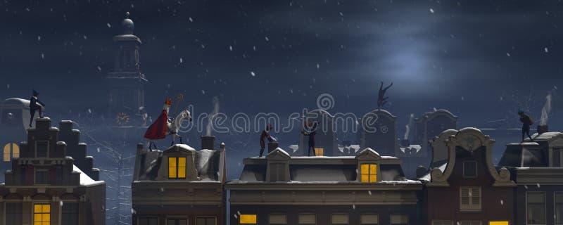 Sinterklaas i Pieten na dachach przy nocą royalty ilustracja