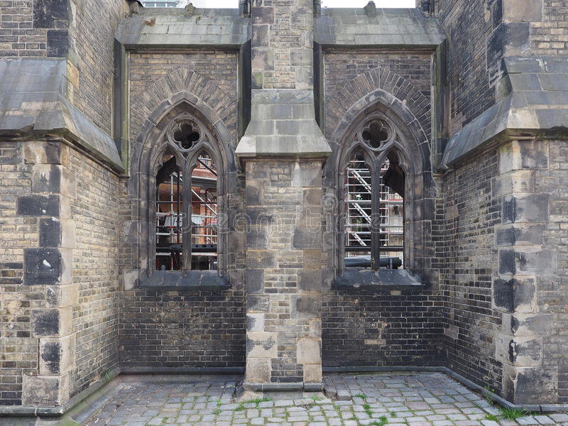 Sinterklaas-kerkruïnes in Hamburg stock foto's
