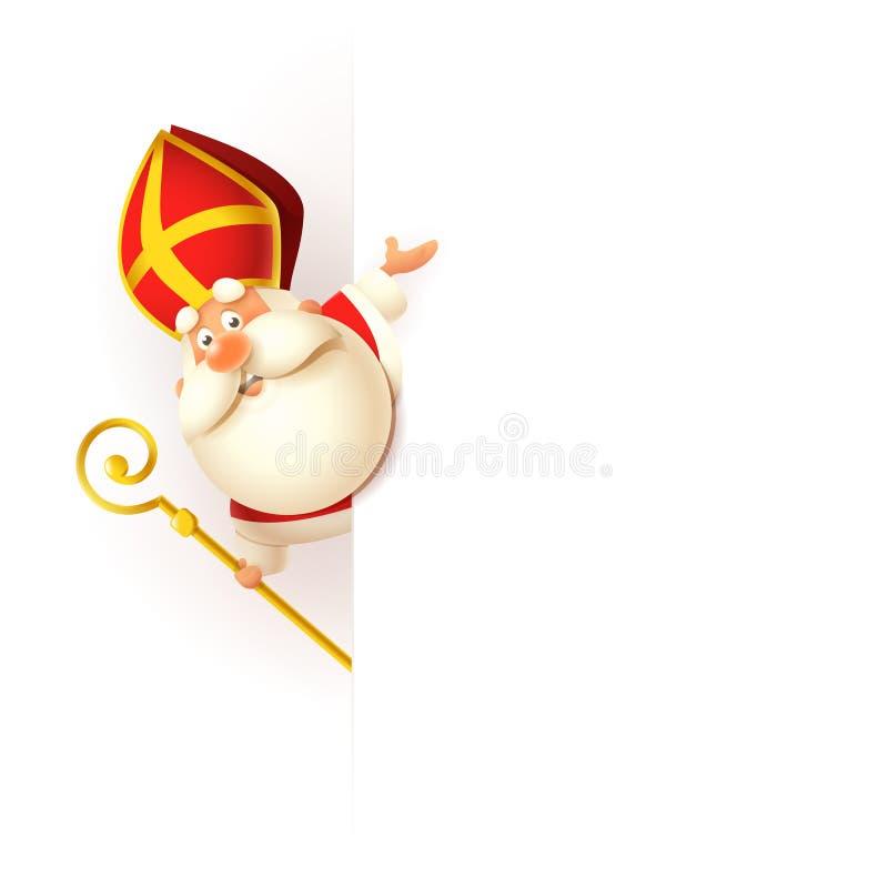Sinterklaas links van raad - gelukkig leuk karakter vier vakantie - vectordieillustratie op wit wordt geïsoleerd stock illustratie