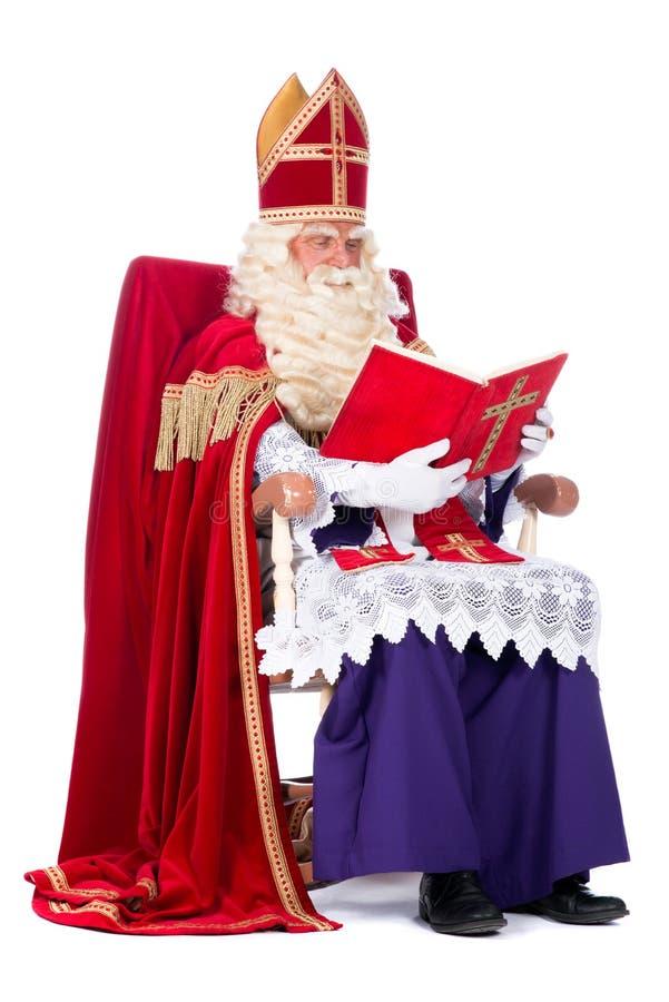 Sinterklaas na jego krześle obraz royalty free