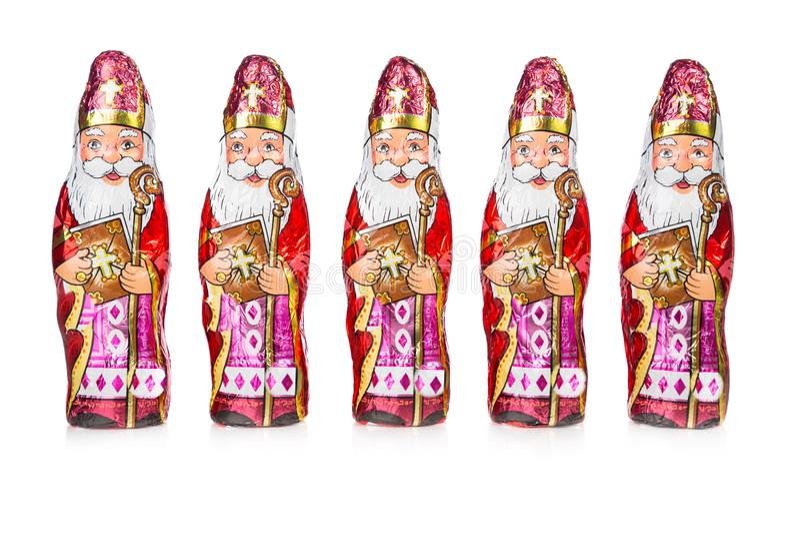 Sinterklaas Niederländische Schokoladenfiguren in Folge lizenzfreie stockbilder