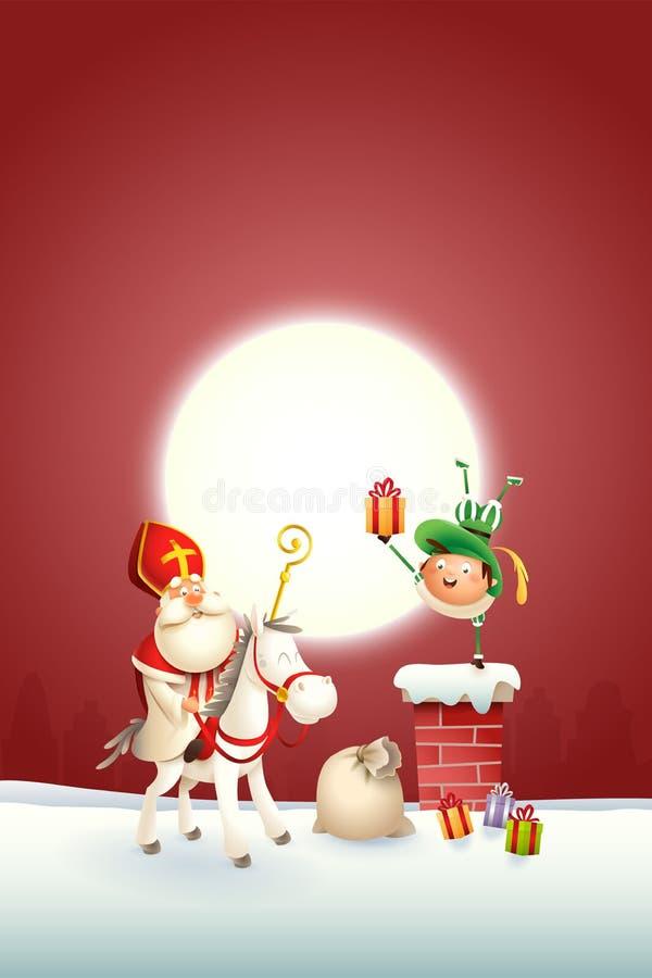 Sinterklaas-paard en helper Piet op schoorsteen geleverde giften - gelukkige leuke karakters vier vakantie - vectorillustratie o royalty-vrije illustratie