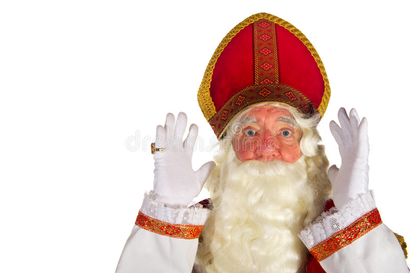 Sinterklaas surprised. Portrait of the very surprised Dutch Sinterklaas isolated over white royalty free stock photos