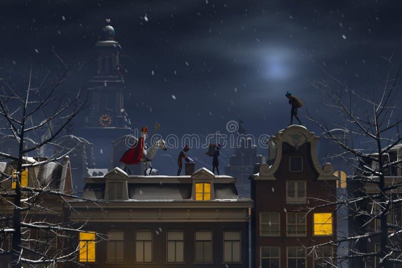 Sinterklaas und das Pieten auf den Dachspitzen nachts stock abbildung
