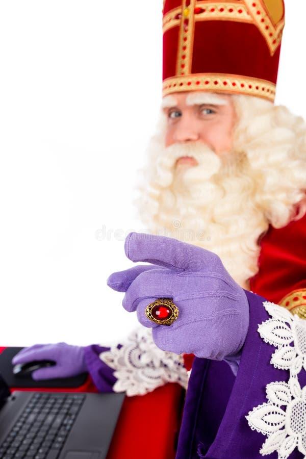 Sinterklaas z laptopem zdjęcie stock