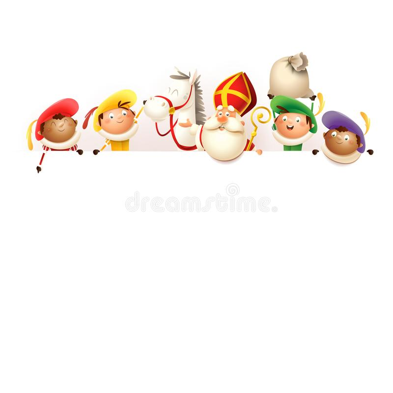 Sinterklaas zijn paard Amerigo en helpers aan boord - de gelukkige leuke karakters vieren Nederlandse vakantie - vector geïsoleer stock illustratie