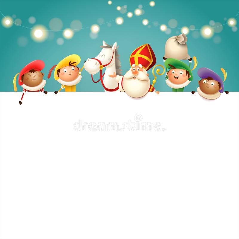 Sinterklaas zijn paard en helpers aan boord - de gelukkige leuke karakters vieren Nederlandse vakantie - vectorillustratie turkoo stock illustratie