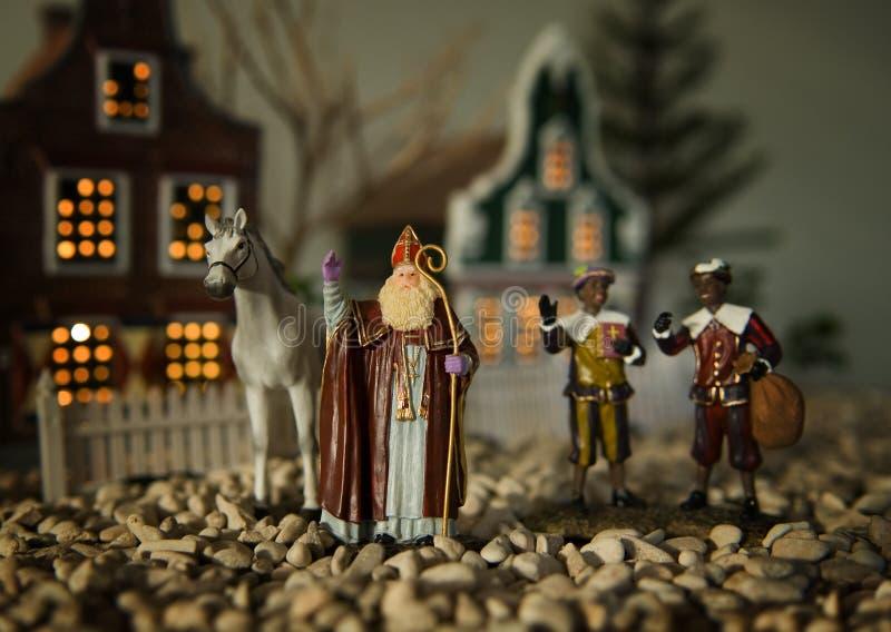 Sinterklaas, Zwarte Piet e cavallo fotografia stock libera da diritti