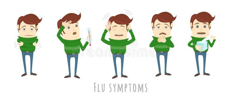 Sintomas da constipação comum da gripe da gripe O homem sofre o frio, febre ilustração royalty free