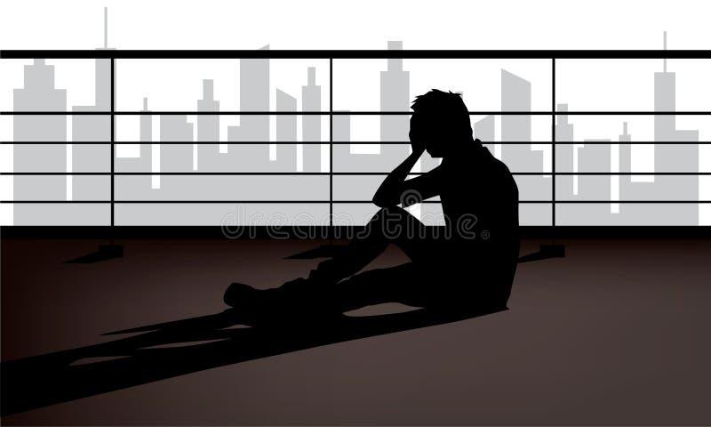 Sintomas da desordem depressiva, tristeza, desespero ou humores infelizes ilustração do vetor