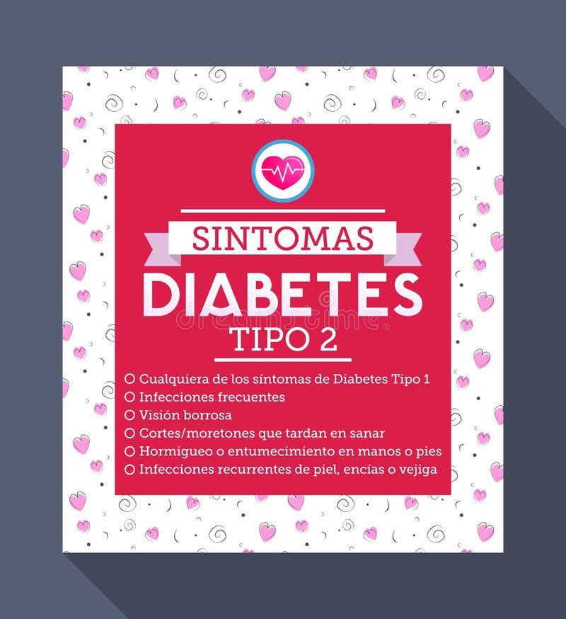 Sintomas-Diabetes tipo 2 Spanischtext vektor abbildung