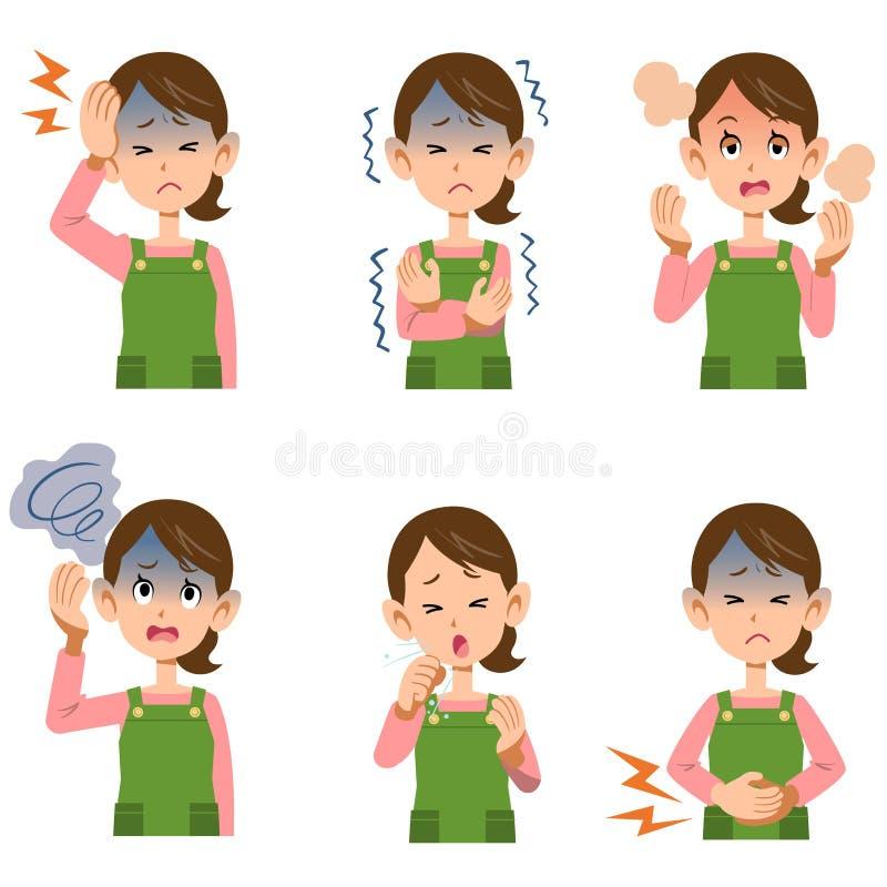 Sintomas do ` s da mulher da dona de casa 6 tipos ilustração stock