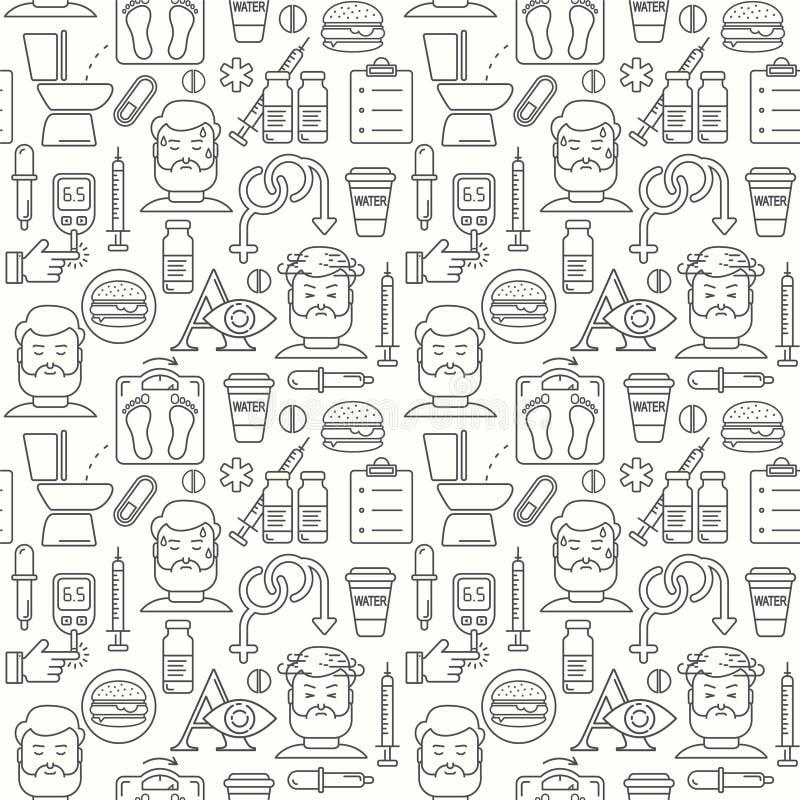 Sintomi del diabete e linea fondo senza cuciture di controllo di vettore di stile illustrazione di stock