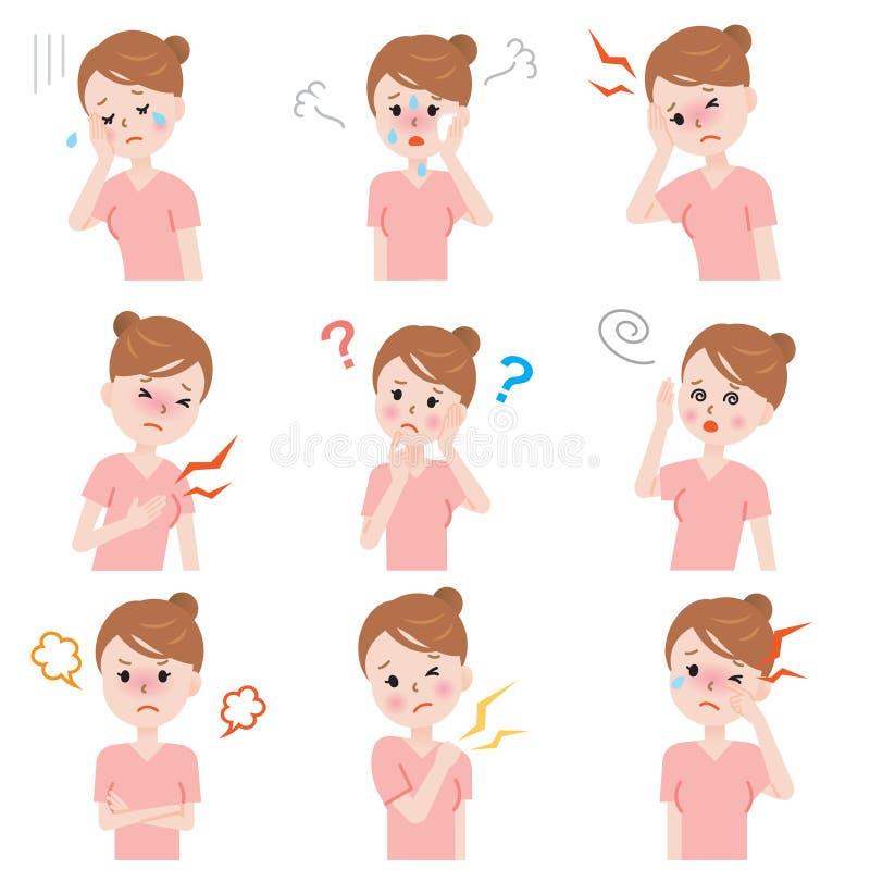 Sintomi della menopausa illustrazione di stock