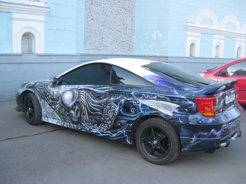 Sintonizzazione dell'AR del ¡ di Ð Airbrushing automobilistico Toyota Celica fotografia stock libera da diritti