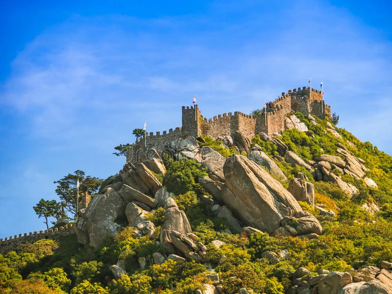 Sintra, Castle of the Moors. Portugal at the Initiation Well. Sintra, Castle of the Moors. Travel to Portugal stock photos