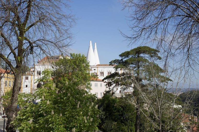 Sintra kallade den nationella slotten Palacio Nacional de Sintra också Stad Slott med distinkta lampglas på en typisk dimmig dag arkivbild