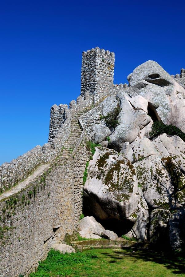 Sintra, legt kasteel/Portugal vast royalty-vrije stock afbeelding