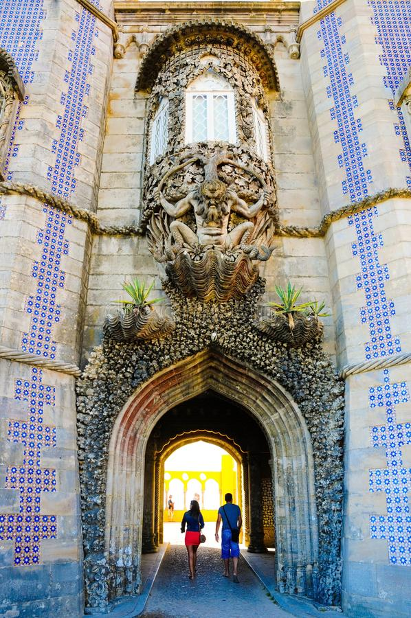 Sintra nationellt slottTrinton fönster och välva sig tunnel, Portugal historia, lopp Lissabon arkivfoton