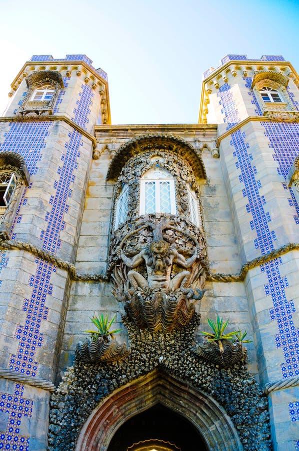 Sintra pałac Trinton Krajowy okno, podróż Lisbon, Portugalia obraz stock