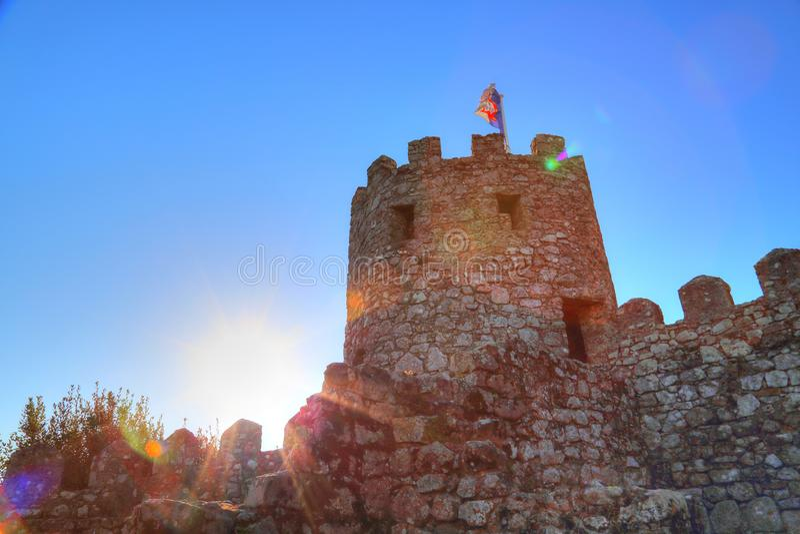Sintra, Portogallo, castello scenico del attracca fotografia stock