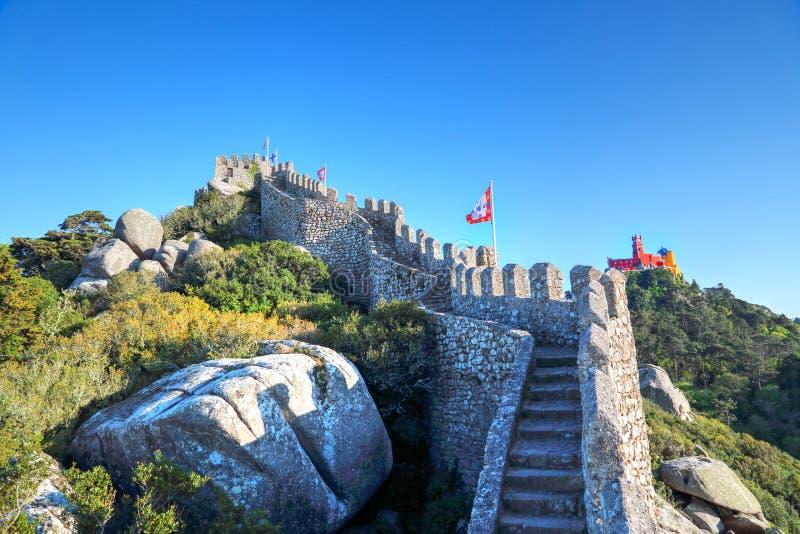 Sintra, Portogallo, castello scenico del attracca immagine stock libera da diritti