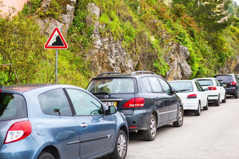 Sintra, Portugal 2016 06 16 - cars standing near the road sign stock photos